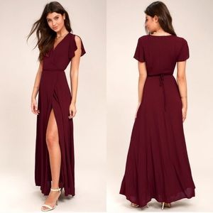 Lulus Heart Of Marigold Burgundy Wrap Dress NWT